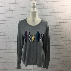 Heather Grey Pullover Sweater w Feather Graphic